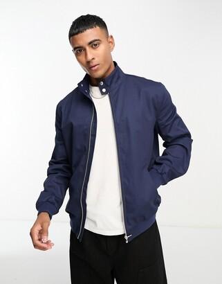ASOS DESIGN harrington jacket with funnel neck in navy