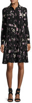 Valentino Floral-Print Silk Crepe de Chine Shirtdress, Black/Pink