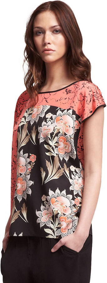 Kenneth Cole NEW YORK Floral Print Cap Sleeve Top