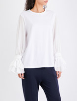 Clu Ruffled cotton-jersey and silk and cotton-blend top