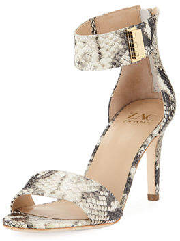 Zac Posen Lucy Snake-Embossed Leather Ankle-Strap Sandals