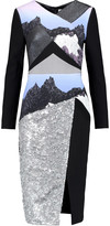Peter Pilotto Sona sequined silk-paneled wool-crepe dress