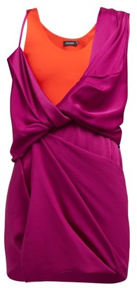 Atlein - Draped Hybrid Satin-jersey Mini Dress - Fuchsia