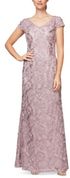 Alex Evenings Embroidered Soutache Gown