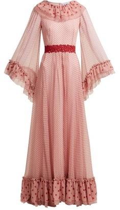 Luisa Beccaria Polka-dot Silk-chiffon Gown - Womens - Pink Multi