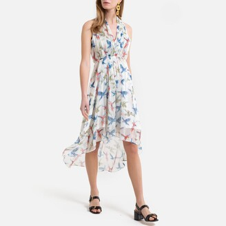 Molly Bracken Sleevless Asymmetric Midi Dress in Floral Print