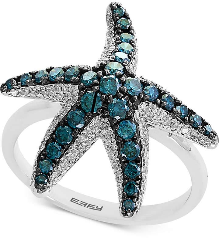 Effy Seaside by Diamond Starfish Ring (1 ct. t.w.) in 14k White Gold