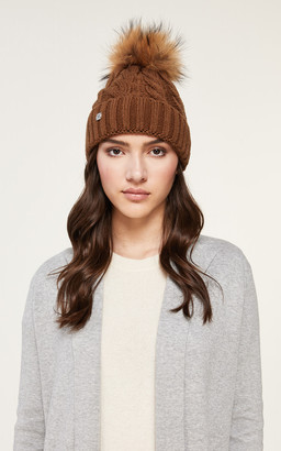 Soia & Kyo AMALIE cable knit hat with removable natural fur pom pom