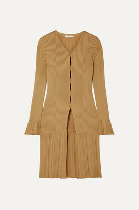 Chloé Ribbed-knit Cardigan - Gold