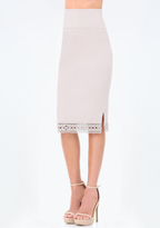 Bebe Petite Eyelet Midi Skirt