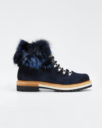 Montelliana 1965 Aurora Suede Boots with Fox Fur Trim