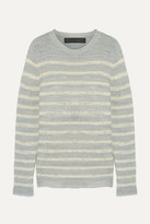 The Elder Statesman Picasso Striped Cashmere Sweater - Light gray