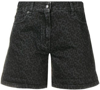 McQ Denim Leopard Shorts