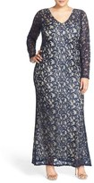 Marina Long Sleeve Sequin Lace Gown (Plus Size)
