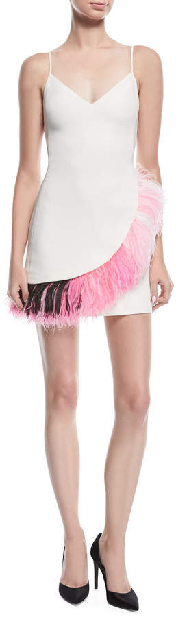 David Koma Feather-Trim Mini Cocktail Dress