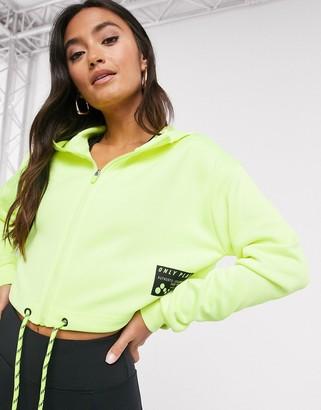 Only Play Judie long-sleeved zip hood sweatshirt in safety yellow