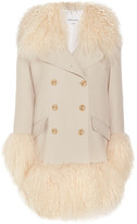 Sonia Rykiel Shearling-trimmed Wool-blend Coat - Cream