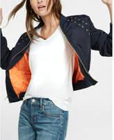 Express lace-up shoulder bomber jacket
