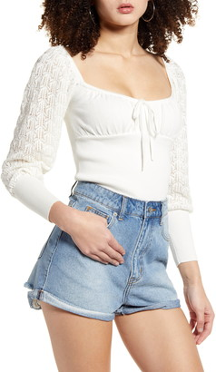 Leith Lace Sleeve Cotton Sweater