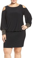 Xscape Evenings Embellished Cuff Cold Shoulder Blouson Jersey Dress (Plus Size)