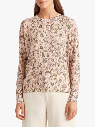 Ralph Lauren Ralph Amaryla Long Sleeve Floral Print Sweater, Pink/Multi