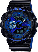 G-Shock Men's Analog-Digital Glossy Black/Blue Dual Layer Resin Strap Watch 51x55mm GA110LPA-1A