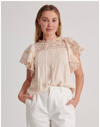 Piper Flutter Sleeve Lace Trim Top