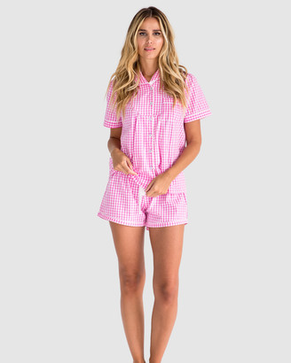 Sant and Abel Women's White Pyjamas - Women's Hepburn Gingham Pink Short PJ Set - Size One Size, S at The Iconic