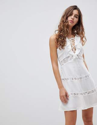 Glamorous Lace Up Dress With Frill-White