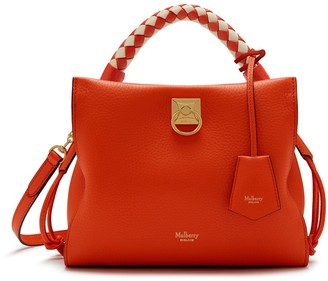 Mulberry Small Iris Coral Orange Heavy Grain with Coral Orange-Chalk handle