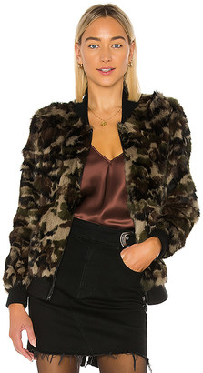 Adrienne Landau Rabbit Fur Camo Varsity Jacket