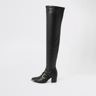 River Island Black faux leather over the knee boots