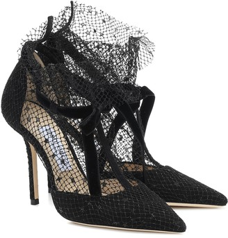Jimmy Choo Fira 100 tulle-trimmed suede pumps