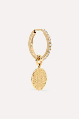 Anissa Kermiche Louise D'or Coin 18-karat Gold Diamond Hoop Earring