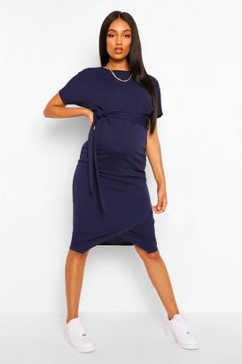 boohoo Maternity Tie Waist Batwing Midi Dress