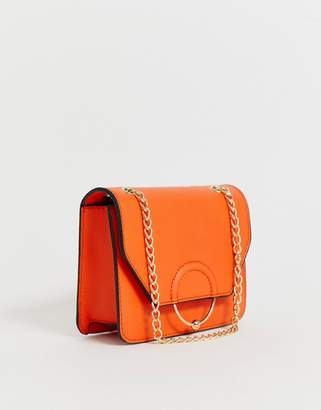 Asos Design DESIGN ring and ball cross body bag with chain strap-Orange