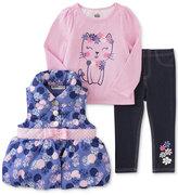 Kids Headquarters 3-Pc. Puffer Vest, T-Shirt & Denim Leggings Set, Toddler Girls & Little Girls (2T-6X)
