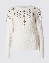Per Una Cotton Blend Embellished Cable Knit Jumper