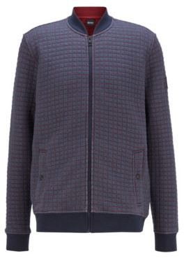 HUGO BOSS Quilted Look Jersey Jacket With Check Pattern - Dark Blue