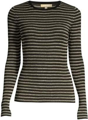 Michael Kors Stripe Long-Sleeve Rib-Knit Sweater
