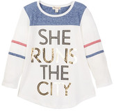 Ten Sixty Sherman She Runs The City Long Sleeve Raglan Tee (Big Girls)
