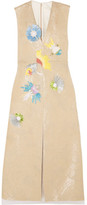 DELPOZO Appliquéd Linen-blend Midi Dress - Beige