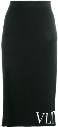 Valentino Logo Knitted Pencil Skirt