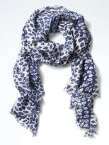 Banana Republic Stripe Leopard Scarf