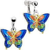 Body Candy Handcrafted Blue Butterfly Clip Earrings