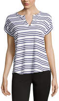 Liz Claiborne Short Sleeve Split Crew Neck Stripe T-Shirt-Womens
