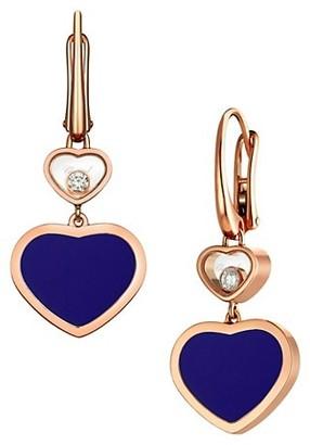 Chopard Happy Hearts 18K Rose Gold, Diamond & Blue Stone Drop Earrings