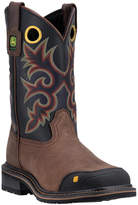 John Deere Black & Red Embroidered Leather Cowboy Boot - Men