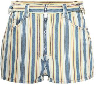 Miu Miu High-rise striped denim shorts