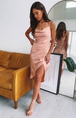 Beginning Boutique Zariah Slip Midi Dress Peach
